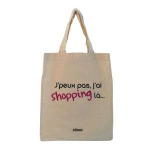 """tote bag en coton avec inscription """"J'peux pas j'ai shopping là"""""""