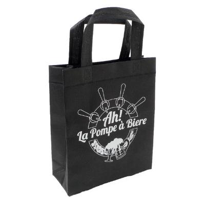 sac non tissé noir avec logo pompe à bière blanc et anse soudée